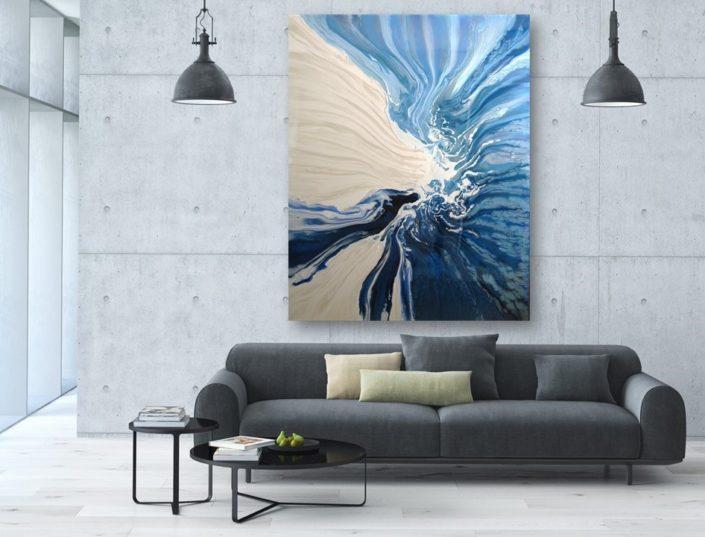 ORIGINAL blue white contemporary art abstract modern art canvas paintings for sale heidel bethel artist raya bethel Las Vegas Maui Beverly Hills Los Angeles La Jolla Aspen Santa Fe Miami Seattle Bellevue Kirkland large art